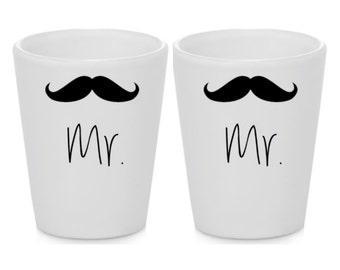 Gay Wedding Gift - Mr. & Mr. Mustache - Moustache Gift Pair Shot Glasses - Set of 2 pcs - Ships within 2 Days!