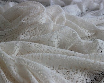 Ivory Crochet Lace by the Yard, Crochet Fabric by the Yard,  Ivory Crochet by Yard, Yardage