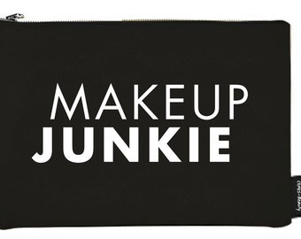 MAKEUP JUNKIE Black Canvas Makeup Bag Makeup pouches Cosmetic bag Makeup Storage Cosmetic organizer Makeup Artist Hairdresser