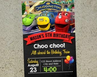 Chuggington train Birthday Invitation Chuggington train Invitation Chuggington train Invite Free Thank you Card Included