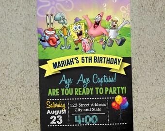 Spongebob Birthday Invitation Spongebob Invitation Spongebob Invite Free Thank you Card Included
