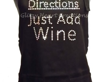 "Apron - ""Directions Just Add Wine"" Wine Humour Apron - Cotton Cooking Apron, Kitchen Apron, Apron with 2 pockets and adjustable neck strap"