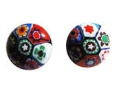 Millefiori Glass Vintage Estate Italian Earrings