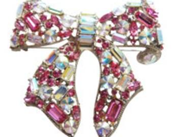 Pink Rhinestone Bow Brooch/Pin Vintage 1980 Thelma Deutch Bridal Pin Rhinestone Pin
