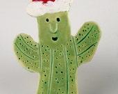 Saguaro Cactus Christmas Ornament by Southwest Ceramic Artist, Karlene Voepel