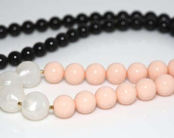 Pink Black White Lucite Necklace