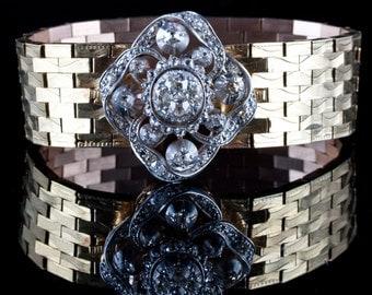 Timeless Vintage 1880 18k / 14k Yellow & White Gold Old Mine Cut Diamond Bracelet 2.42ctw