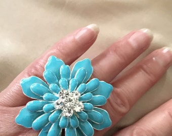 Ring turquoise enamel flowers