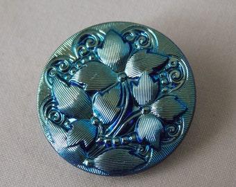 Czech Glass Button Iris Iridescent Metallic Blue Flower Button B229
