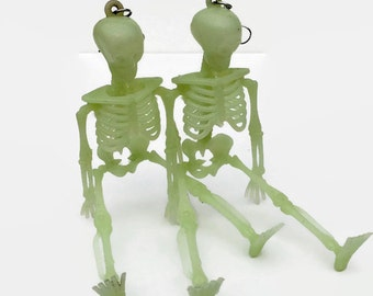 Glow in the Dark Skeleton Body Earrings Limited Edition Recycled Halloween Decor Long Dangle Earrings Women's Earrings Gothic Style