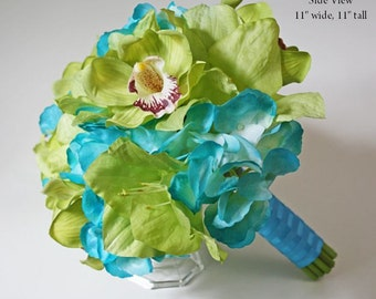 Turquoise/aqua/teal/blue, green, hydrangea, orchids, bouquet, Real Touch flowers, silk, wedding, artificial