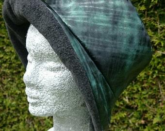 Green and black rain hat