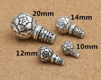Sterling Silver Guru Bead, Sterling Silver Prayer Beads Making, Buddhist Mala Bead, Sterling Flower Guru Bead 10mm 12mm 14mm 20mm -EZ103