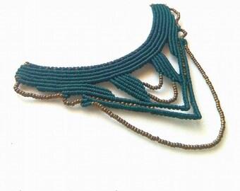 Macrame tribal necklace - Boho Gypsy jewelry -  Bordeaux necklace macrame - macrame with beads