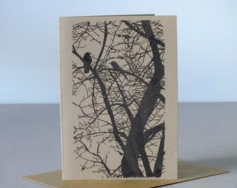 Birds in tree gocco print greetings card - blank birthday card - black on brown