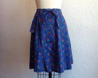 1970s Blue cherry print flared skirt