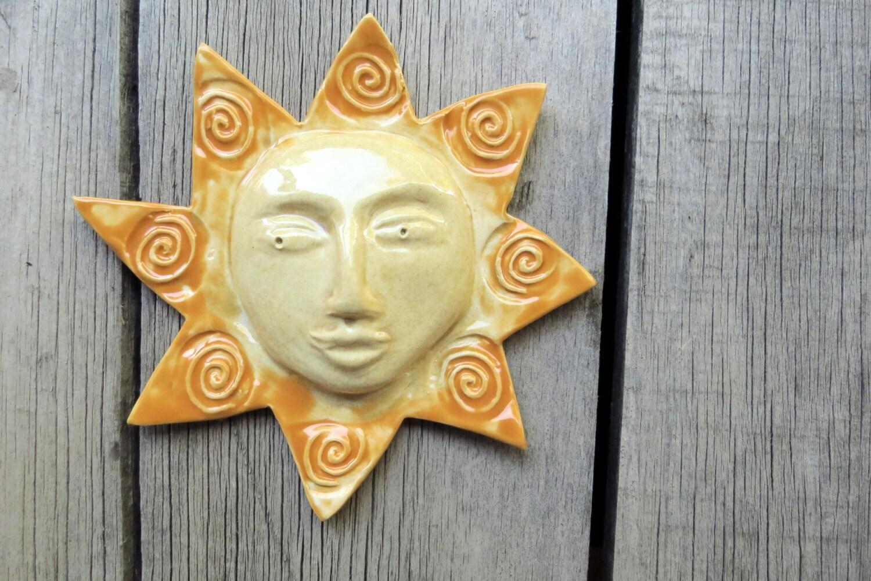 Ceramic ceramic sun ceramic wall art small sun ceramic for Ceramic wall art