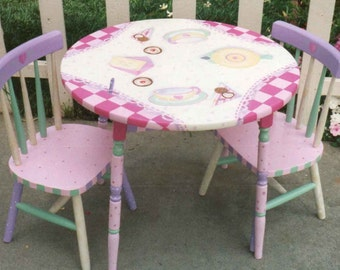 Hand painted child 39 s table set peter rabbit table set for Beauty and the beast table and chairs