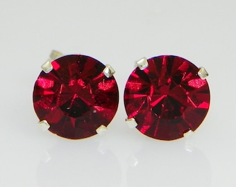 3mm - 8mm Crystal Siam Red Sterling Silver Earrings Made with Swarovski Crystals (gift box included)
