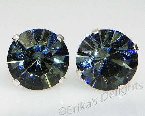 3mm 8mm Crystal Black Diamond Sterling Silver Earrings Made