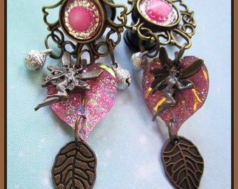 "Pink Fairy with Bells stretched dangle earrings pretty EAR PLUGS you pick the gauge size 2, 0, 00g, 7/16, 1/2"" aka 6, 8, 10, 12mm"