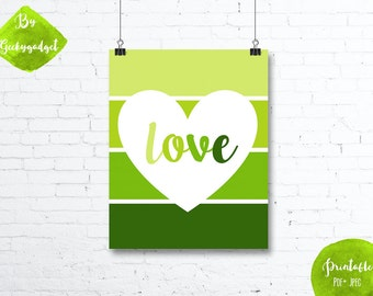 LOVE Heart and green paint chip - Nursery poster - Pdf printable, DIY, wall art, inspirational decoration, motivational