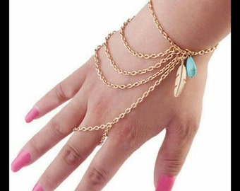 60% OFF Gold Feather Hand Chain