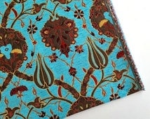 Jacquard Chenille Upholstery Fabric, Floral Fabric with Tulip&Clove Pattern, Oriental Style Fabric, Turquoise, by the Yard/Metre, Ach-041