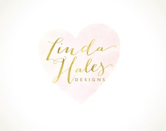 Logo Design Branding Package Premade Graphics Custom Text Gold Pink Heart Watercolor