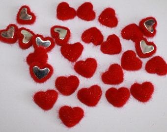 Red Heart Flat Backs, Velvet Fabric Covered Chunky embellishments, Valentine's Day Hearts, Card Making, Wedding DIY