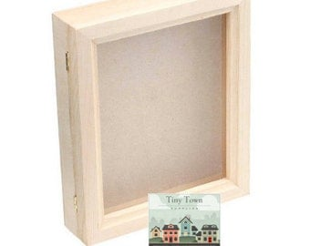 Hinged Glass Top Shadowbox, Bare Wood Shadow Box with Glass Hinged Lid