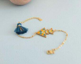 Bracelet motif ethnique tissé à l'aiguille, perles de verre japonaises Miyuki, apprêts dorés à l'or fin 24k