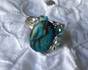 GR27 Turquoise oval stone ring with aqua and clear crystals, silver wire, size 6 1-2