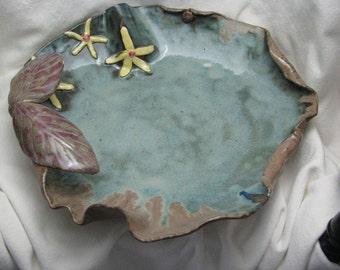 birdbath, ceramic bird bath, pottery garden decor, blue/green