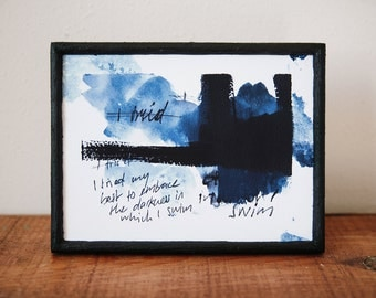 Limited Swim Fine Art Print | Acryl watercolor typography mixed media print | Modern wall art | Limited edition