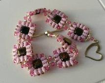 Super duo bracelet.Super Duo Bracelet. Square Bracelet.  Pink Super Duo Bracelet.  Swarovski Bicones. Pink Bracelet. One Of A Kind Bracelet