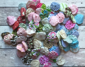 Fabric YoYos 1 3/4 inch Fabric Yo Yo's 1.5 inch YOYO, Fabric Circle, Pink, Green, Blue, Brown, Decor, Fabric Ruffle Circle