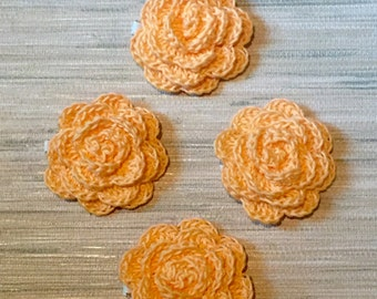 Large Crochet Roses - Orange Sherbert - Organic Cotton