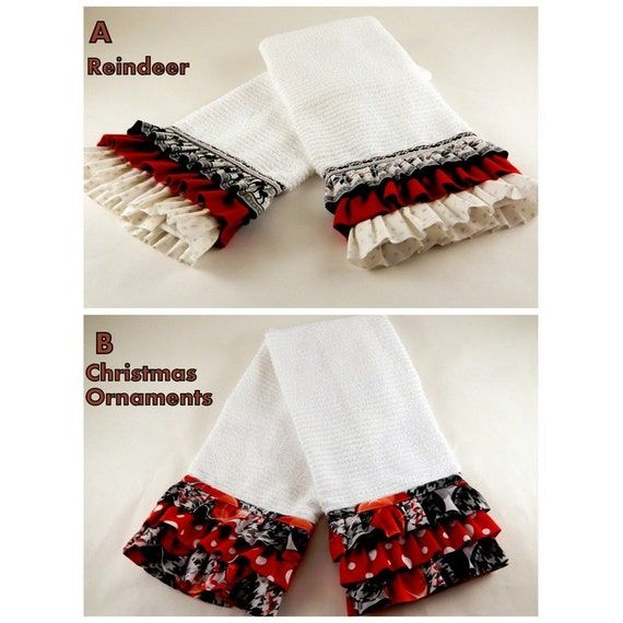 Ruffled kitchen towels Christmas decor Christmas by