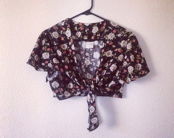 Bolero floral black white pink one size