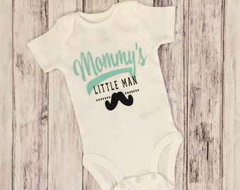 Mommy's little man, mommys baby boy, mommy's baby one onesie, mustache, little man, baby boy onesie, boy onesie