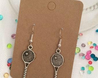 Silver tone tennis raquet earrings