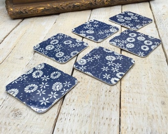 Drink Coasters, Blue Coasters, Flower Costers, 60s Style, Set 6 Coasters, Housewarming Gift, Coffee Coaster Set, Beverage Coasters