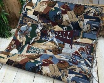 Tapestry fabric, sports fabric, boys fabric, baseball fabric, football fabric, soccer fabric, basketball fabric, hockey fabric, sport fabric