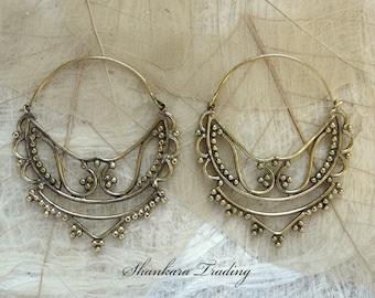 Brass Tribal Earrings, Gypsy Hoop Earrings, Indian Earrings, Tribal Brass Earrings, Ethnic Earrings, Boho Jewelry, Belly Dance Jewelry
