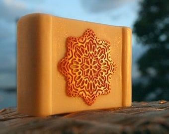 Mandala Sunrise, Art Soap, Designer Soap, Wedding Gift, White Clay, Made in Ireland, Luxury Gift, Sunset Soap, Wedding Gift, zero waste