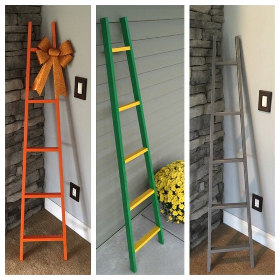 Wood country home decor ladder primitive by bucksbarnworks for Decor ladder house