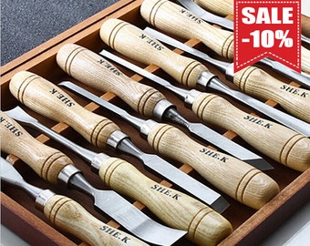 12 Pieces Wood Carving Hand Chisel Tool Set Professional Gouges New GJT0018