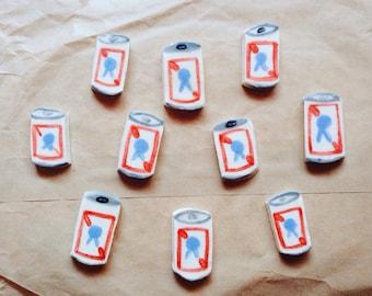 Pabst Blue Ribbon pin // ceramic beer brooch