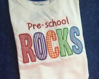 Preschool rocks monogrammed tee